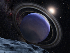 Artistic illustration of the giant planet HR 8799b