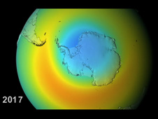 Still from video of ozone levels in Antarctica