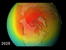 Still from video of ozone levels at the North Pole