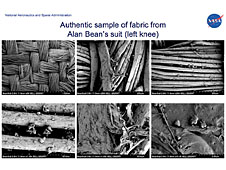 Six microscope images of spacesuit fibers