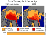 map showing Arctic sea ice extent