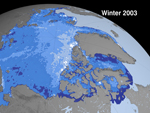 image showing Arctic sea ice cover in 2003