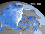 image showing Arctic sea ice cover in 2005