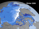 image showing Arctic sea ice cover in 2006