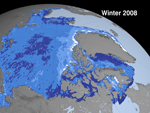 image showing Arctic sea ice cover in 2008