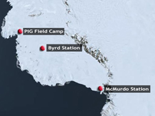 Map of the the ice shelf off the Pine Island Glacier