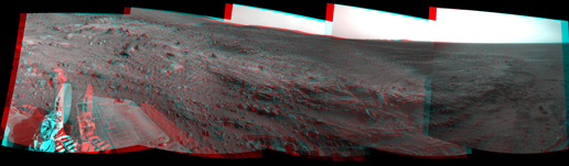 Spirit used its navigation camera to take the images that have been combined into this stereo, 180-degree view of the rover's surroundings during the 1,823rd Martian day, or sol, of Spirit's surface mission