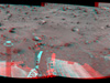 Spirit used its navigation camera to take the images that have been combined into this stereo, full-circle view of the rover's surroundings during the 1,843rd Martian day, or sol, of Spirit's surface mission