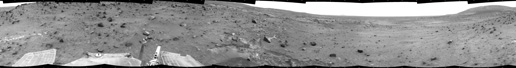 Spirit used its navigation camera to take the images that have been combined into this full-circle view of the rover's surroundings during the 1,843rd Martian day, or sol, of Spirit's surface mission