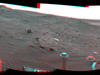 Spirit used its navigation camera to take the images combined into this stereo, 210-degree view of the rover's surroundings during the 1,861st to 1,863rd Martian days, or sols, of Spirit's surface mission