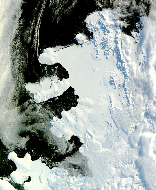 Satellite image of Antarctica's Wilkins Sound