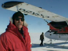 Photo of Dr. Bindschadler in front of airplane on Pine Island Glacier
