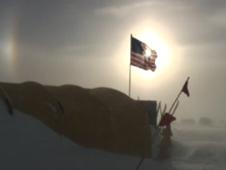 Photo of American flag over camp at Pine Island Glacier