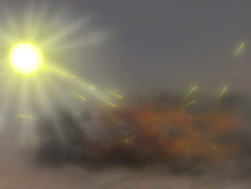 artist concept of aerosols reflecting light