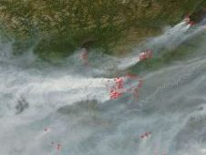 satellite image of Alaskan wildfires in 2004
