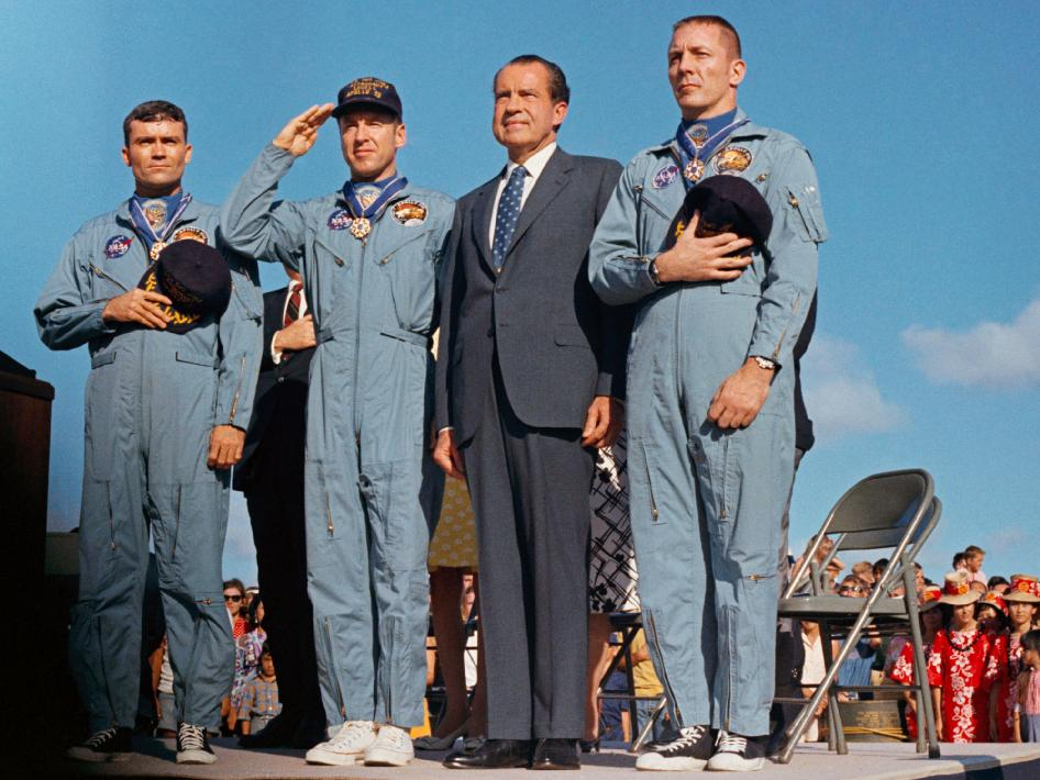 President Richard M. Nixon and the Apollo 13 astronauts James A. Lovell, John L. Swigert Jr., and Fred W. Haise Jr.