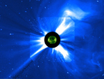 Visualization showing nearly two weeks of SOHO/EIT and SOHO/LASCO imagery from around Halloween 2003.