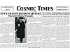 Front of the Cosmic Times newspaper for 1919