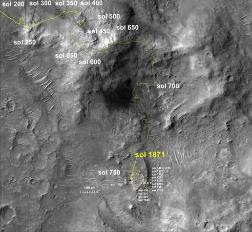Spirit's traverse map through Sol 1871