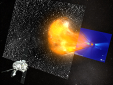 Image from animation depicting a coronal mass ejection (CME) as it erupts from the sun and speeds toward Earth.