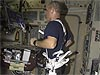 Bowersox connected to ISS treadmill with harness