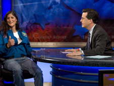 Astronaut Suni Williams on Colbert Report. Credit: Kris Long.