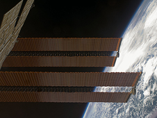 ISS018-E-042659 -- International Space Station solar arrays