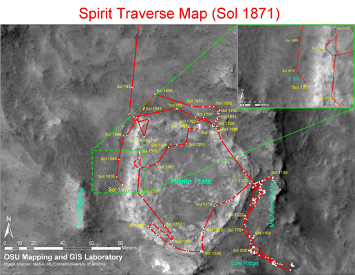 Image detailing spirit's traverse map until Sol 1871