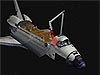 Animation showing the space shuttle in space with bay doors open