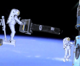 Computer animation of astronauts installing the Wide Field Camera 3