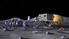 Artist's concept of a small lunar base