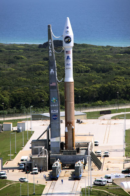 The Atlas V/Centaur rocket with LRO and LCROSS on top are on the launch pad.