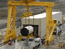 The forward Segment of DM-1 for NASA's Ares I program, is moved into the test stand at ATK facility in Promontory, Utah.