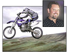 A photo of Ed Prather and a picture of a motocross rider