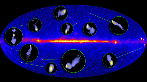 The radio jets of several active galaxies mapped by the Very Long Baseline Array  are inset into the Fermi Gamma ray Space Telescope's map of the gamma ray sky.