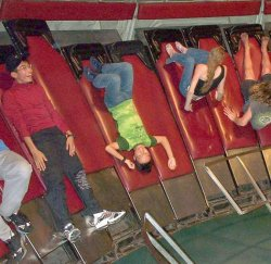 Gravitron ride pins teenagers to wall