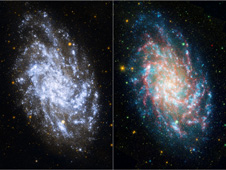 side-by-side image of Galaxy M33 taken by GALEX and comparison image taken by GALEX-Spitzer 4 channel