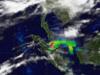 satellite image of smoke from fires  in Sumatra