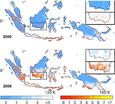 map showing Borneo fires in 2000 and 2006