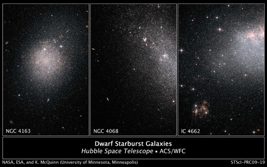 Hubble images of starbursts in dwarf galaxies