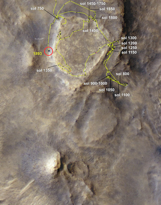 Spirit's traverse map through Sol 1893