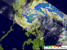 Image from TRMM that shows what would later become Kujira just after it had formed into a tropical depression