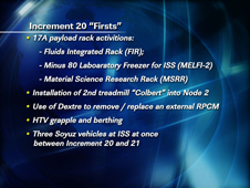 Increment 20 'Firsts'
