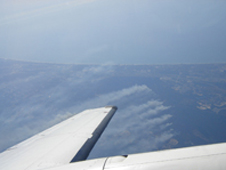 A view from the King Air B200 flying over wildfires near Myrtle Beach, S.C.