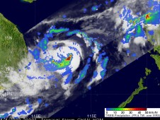 Rainfall seen in Tropical Storm Chan-hom as it was heading into the central South China Sea on May 5
