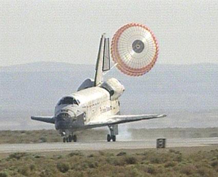 Space shuttle Atlantis landing at Edwards