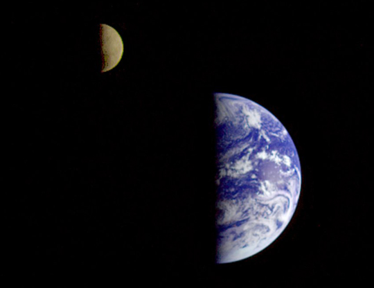 Galileo spacecraft image of the moon and Earth together
