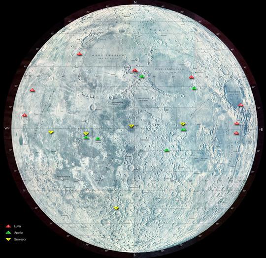 NASA  Map of Past Lunar Landing Sites