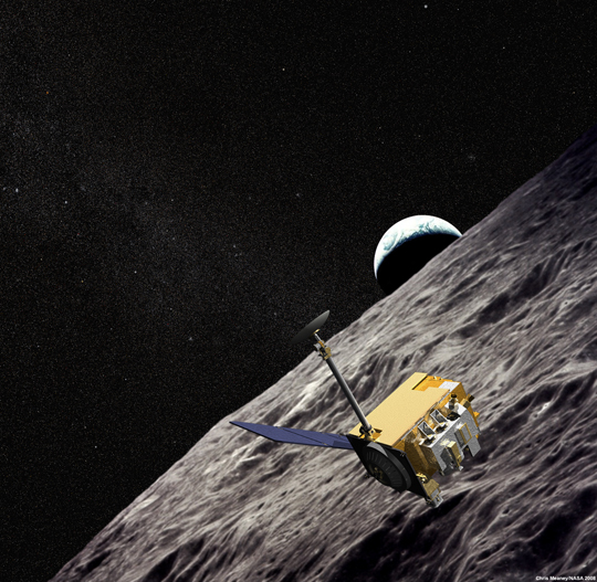 artist concept of LRO with Apollo imagery in background