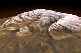 three-dimensional visualization of Mars' north pole